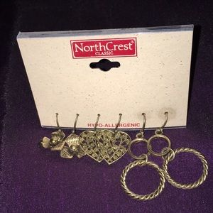 NorthCrest Classic 3 Pair Bronze Color Earrings